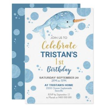 narwhal birthday invitation boy 1st birthday