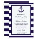 nautical anchor navy stripe beach birthday party invitation