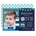 nautical baby boy 1st birthday party invitations