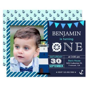 nautical baby boy 1st birthday party invitations
