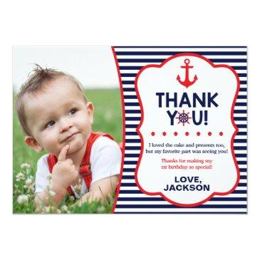 nautical birthday thank you invitations | navy and red