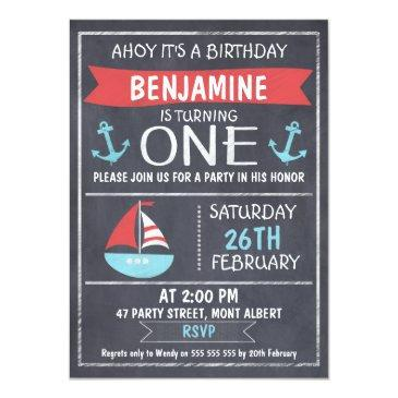 nautical chalkboard 1st birthday invitations