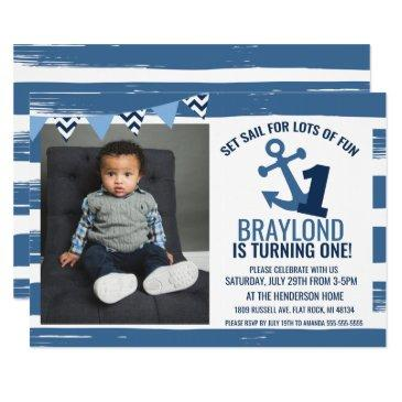 nautical first birthday invitations