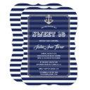 nautical navy stripes silver sweet 16 party invitations