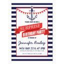 nautical sailor anchor bunting surprise birthday invitation