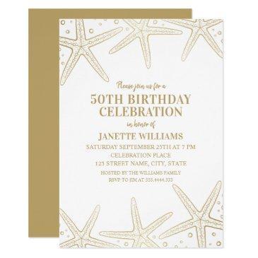 nautical starfish beach adult 50th birthday party invitation