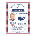 nautical whale 1st birthday party invitation