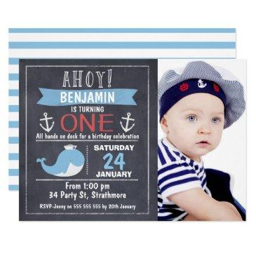 nautical whale chalkboard 1st birthday invitations