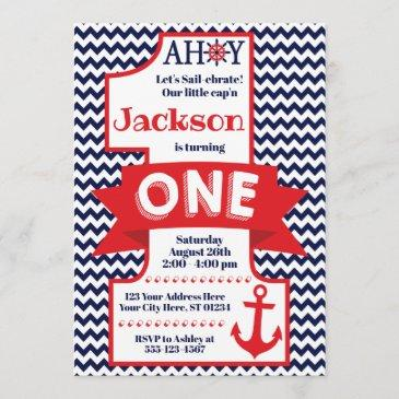 navy and red boy nautical 1st birthday invitation