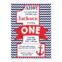 navy and red boy nautical 1st birthday invitation