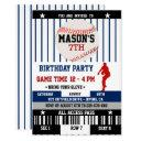navy baseball ticket birthday invitation
