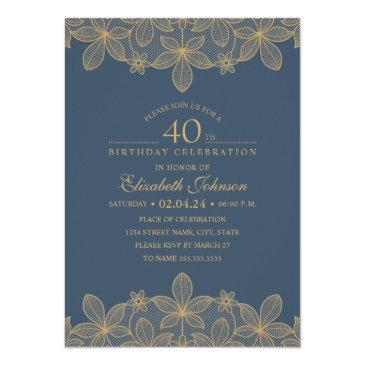 navy blue 40th birthday party unique golden lace invitation