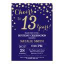navy blue and gold 13th birthday diamond invitations