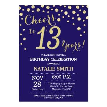 Navy Blue And Gold 13th Birthday Diamond Invitation