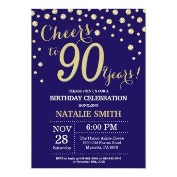 navy blue and gold 90th birthday diamond invitation