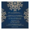 navy blue and gold indian style 50th birthday invitation