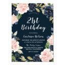 navy blue blush floral wreath 21st birthday party invitations
