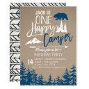navy blue forest camping birthday party invitation