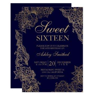 navy blue gold floral elegant sweet sixteen invitation