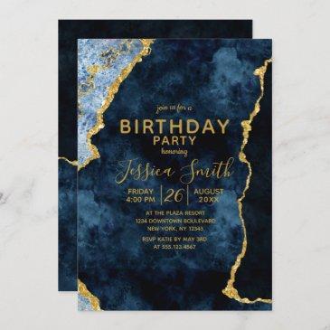 navy blue & gold foil birthday party invitation