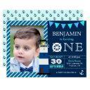 navy blue nautical baby boy 1st birthday party invitation