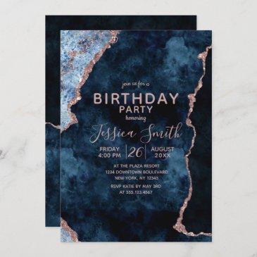 navy blue & rose gold birthday party invitation