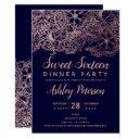 navy blue rose gold floral typography sweet 16 invitation