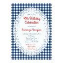 navy blue rustic gingham birthday party invitations