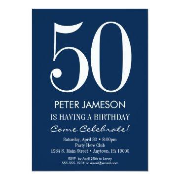 navy blue white modern adult birthday invitations