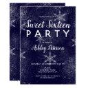 navy blue white snowflakes winter sweet 16 invitations