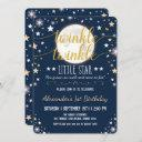 navy gold twinkle little star moon 1st birthday invitation