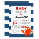 navy nautical crab baby shower invitations