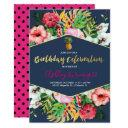 navy & pink tropical birthday invitations