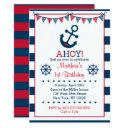 navy & red nautical anchor 1st birthday invitations