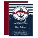 navy red rustic nautical kids birthday invitations