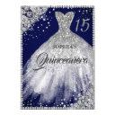 navy silver diamond lace sparkle gown quinceanera invitation