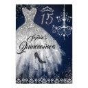 navy silver sparkle diamond dress quinceanera invitation