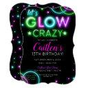 neon glow crazy girl party birthday invitation