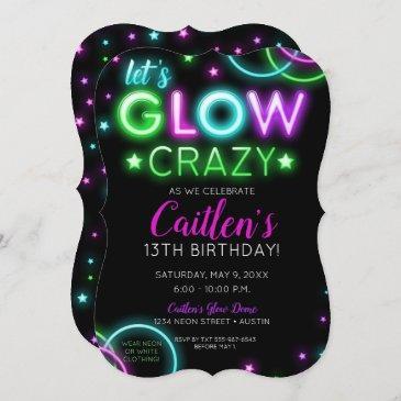 neon glow crazy girl party birthday invitation