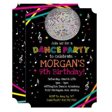 neon glow dance party invitations