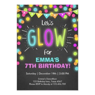 neon glow in the dark birthday invitations