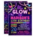neon glow in the dark glow party birthday invitation