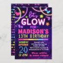 neon glow in the dark glow party birthday invitation
