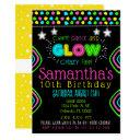 neon glow in the dark kids birthday party invite