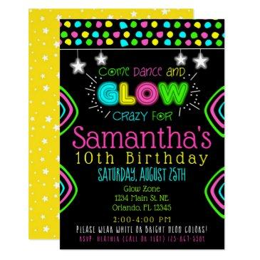 neon glow in the dark kids birthday party invite