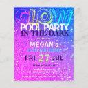 neon glow teens budget birthday party invitation