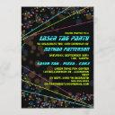 neon lights laser tag birthday party invitation