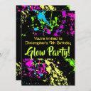 neon paint splatter glow /laser tag birthday party invitation