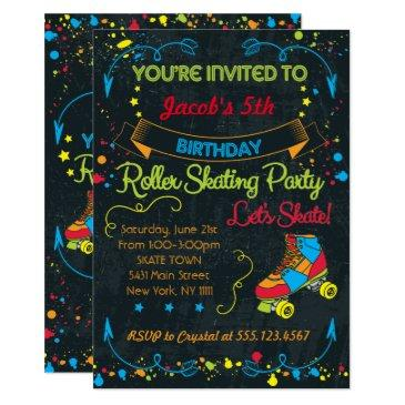 neon roller skate party invitation