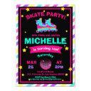 neon roller skating chalkboard rainbow birthday invitation